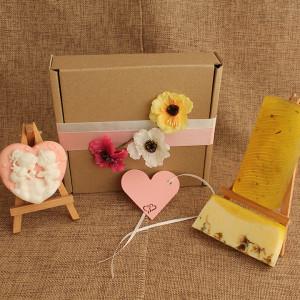 Мыло ручной работы  подарочный набор «Ангелочки» – сердце + 2 бруска  WSPN-005