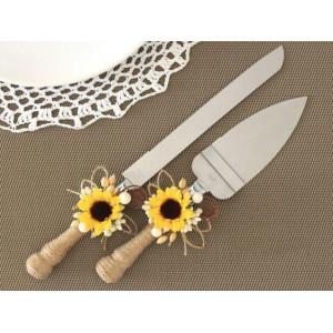 Нож и лопатка декорированные для торта  для свадебного торта WS-16-002p