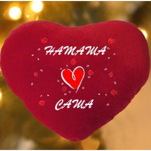 Подушка-сердце с Вашими именами и сердечками LX - 37 - 001