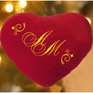 Подушка-сердце с Вашими инициалами LX - 37 - 003