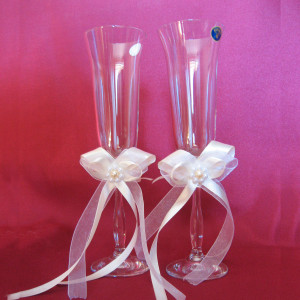 Банты на бокалы из атласной ленты с жемчужным декором ZH - 01 - 006