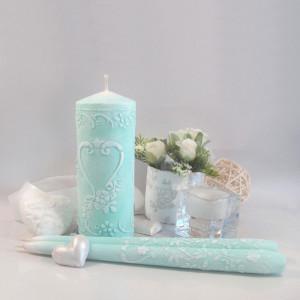 """Набор свадебных свечей Семейный очаг """"Ажур Мята"""" SVI-004"""