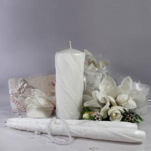 """Набор свадебных свечей Семейный очаг """"Жемчуг Кружево"""" Белый SVI-030"""