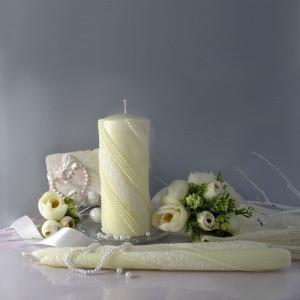 """Набор свадебных свечей Семейный очаг """"Жемчуг Кружево"""" Шампань SVI-031"""