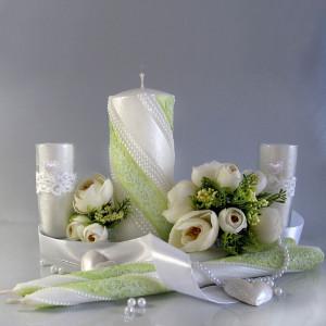 """Набор свадебных свечей Семейный очаг """"Жемчуг Кружево"""" Лайм SVI-038"""