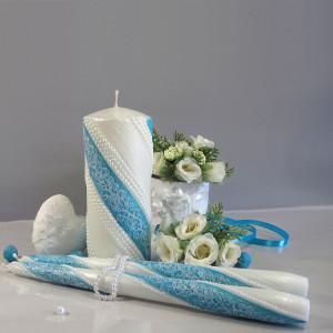 """Набор свадебных свечей Семейный очаг """"Жемчуг Кружево"""" Тиффани SVI-039"""